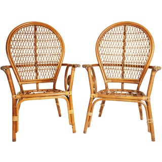 Vintage Bamboo Bentwood Chairs - A Pair