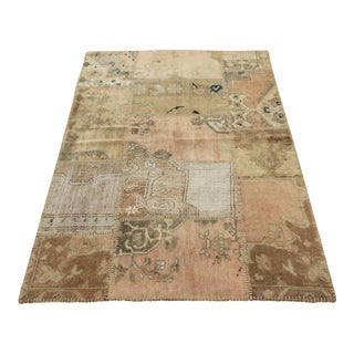 Turkish Vintage Overdyed Patchwork Oushak Rug - 3′10″ × 5′9″