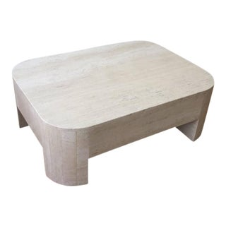 Polished Italian Travertine Cocktail Table