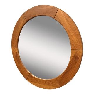 Danish Teak Circular Mirror