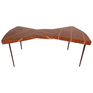 Mid-Century Modern Style Burl Oak Bow-Tie Cocktail Table