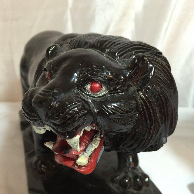 Vintage Hand-Carved Wooden Black Panthers - Pair - Image 3 of 8