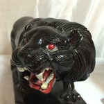 Image of Vintage Hand-Carved Wooden Black Panthers - Pair