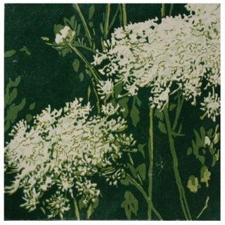 Green Linocut Floral Silkscreen