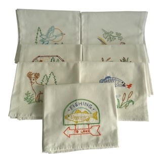 Fishing Lodge Cabin Theme Hand Embroidered Dish Towels - S/7