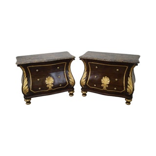 Rococo Gilt Accent Marble-Top Bombe Chests - A Pair