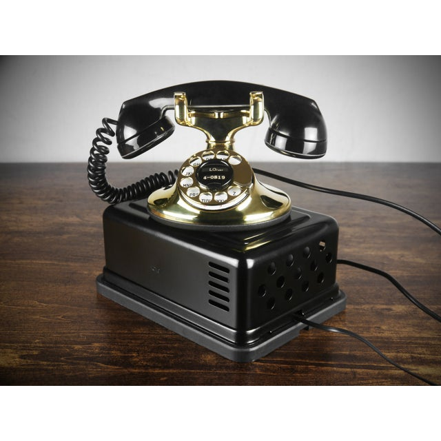 Image of 1930s Art Deco Brass Telephone