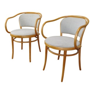 Upholstered Le Corbusier Armchairs - A Pair