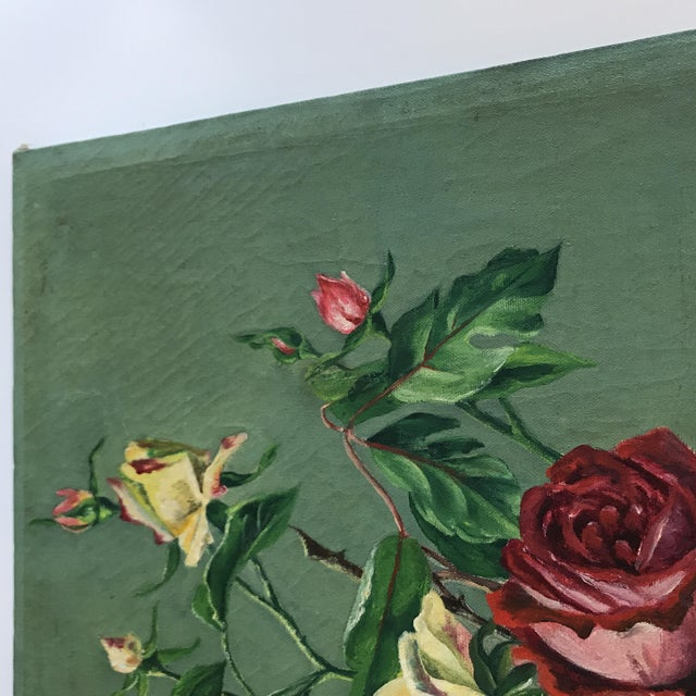 Vintage Still Life Rose Painting - Image 4 of 8