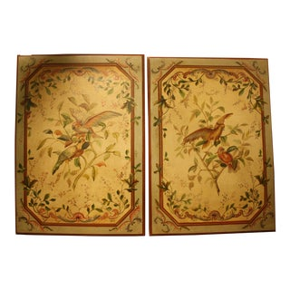 French Blue Parrot Themed Wall Panels - A Pair