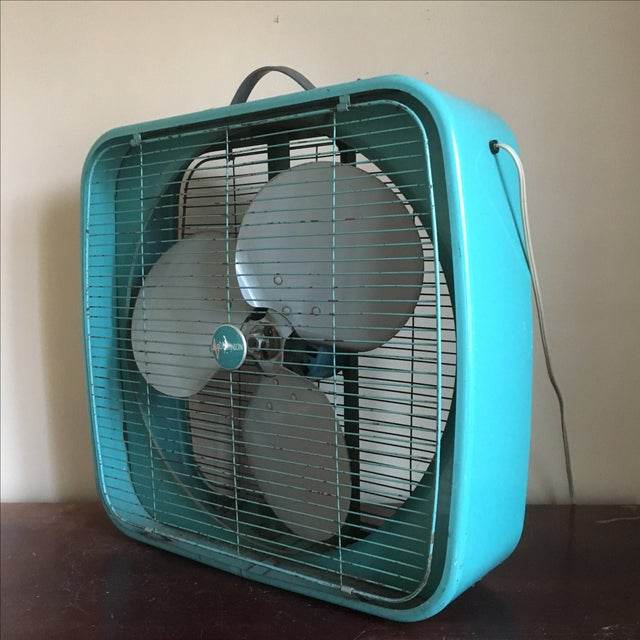 Industrial Box Fan : Vintage industrial quot turquoise dominion box fan chairish