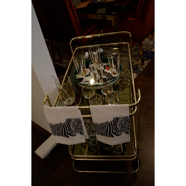 Gold Metal, Glass and Mirror Two-Tier Bar, Tea Cart or Serving Cart - Image 7 of 8