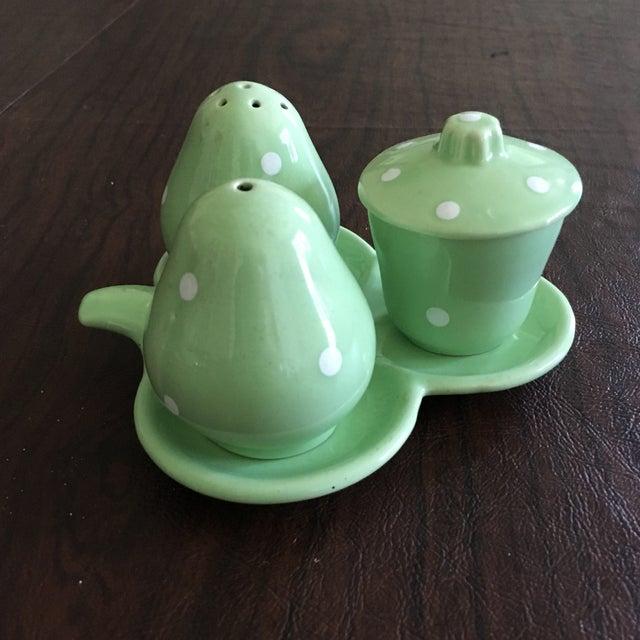 Mid-Century Mint Green Salt & Pepper Shaker - Set of 3 + Plate - Image 3 of 8