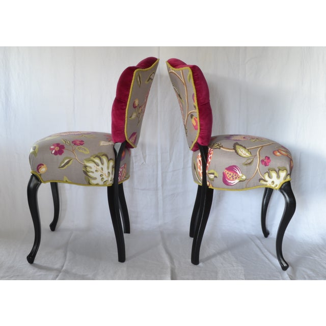 Tufted Velvet Vintage French Chairs - a Pair - Image 4 of 7
