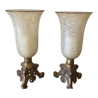Painted Glass Hurricane Candle Holders/Lamps - a Pair