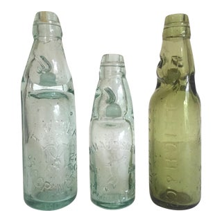 Antique 19th Century English Codd Neck Glass Soda Bottles - Set of 3