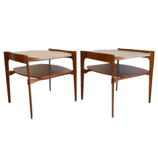 Sculptured Walnut and Travertine End Tables - Pair