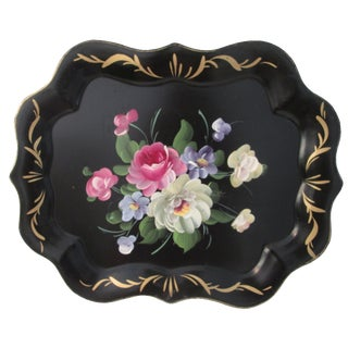 Vintage Large Tole Floral Tray