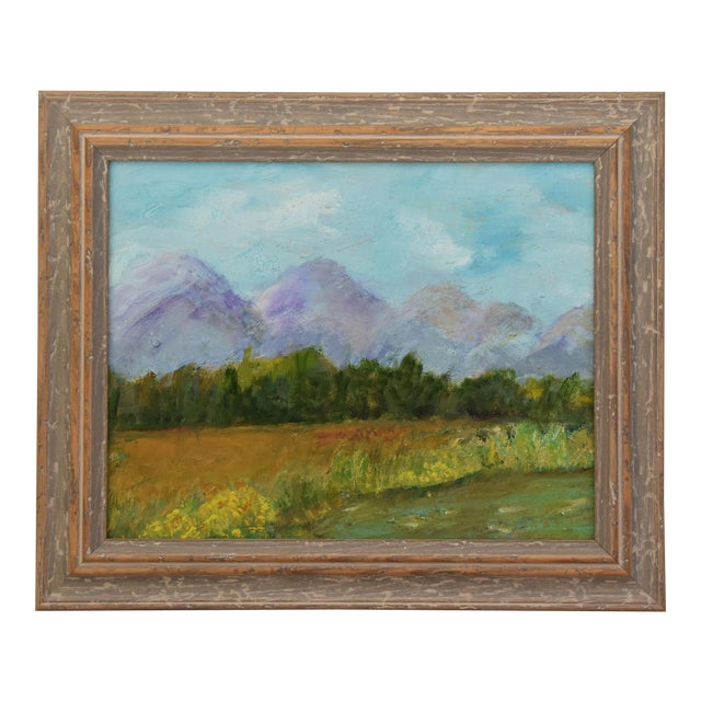 Framed Mountain Landscape Oil Painting - Image 1 of 9