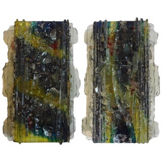 Multicolored Applied Glass Sconces - A Pair