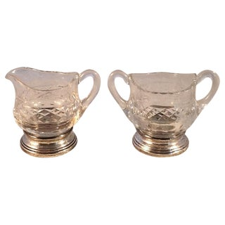 Vintage Cut Glass & Silver Plate Creamer/Sugar Set