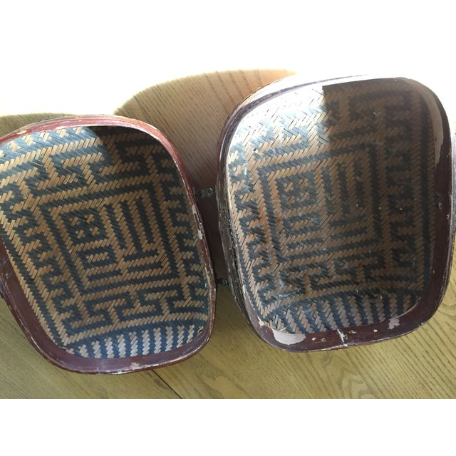 Vintage Chinese Bamboo Sewing Basket - Image 9 of 11