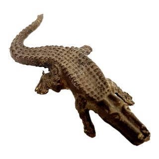 Antique Bronze Alligator Miniature Sculpture