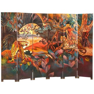 Magnificent Art Deco Lacquered Screen Double-Sided