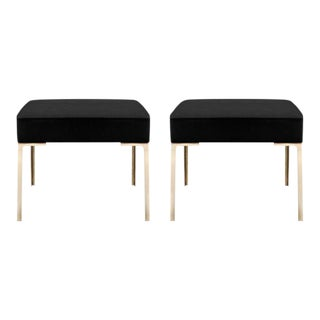 Astor Brass Ottomans in Noir Luxe Suede by Montage, Pair