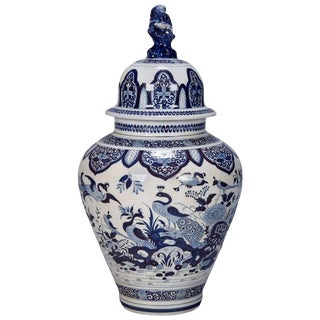 Blue and White Dutch Chinoiserie Vase or Ginger Jar with Foo Dog Lid