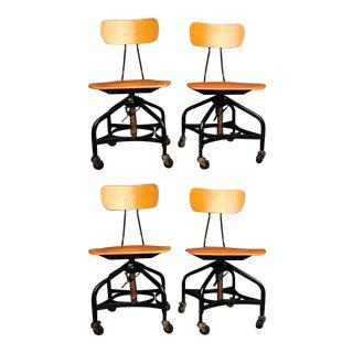 Toledo Bent Plywood Workman's Factory Chairs - Set of 4