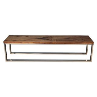 Modern Chrome and Walnut Milo Baughman Bench