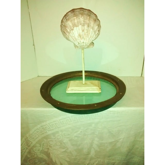 Image of Vintage 1960s Nautical Brass Green Glass Porthole
