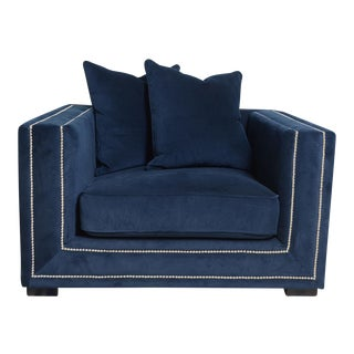 Pasargad Navy Velvet Armchair & Pillows
