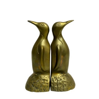 Vintage Brass Penguin Bookends