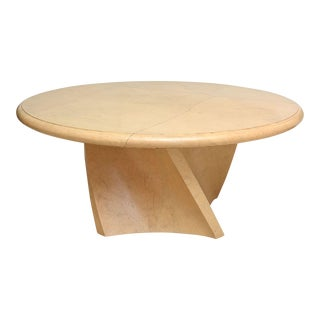 "A Large American Modern Circular ""Goatskin"" Dining Table, style of Karl Springer"