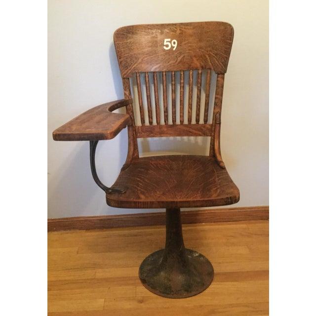Antique Quarter Sawn Oak University Lecture Hall Chair - Metal Pedestal - Image 2 of 7