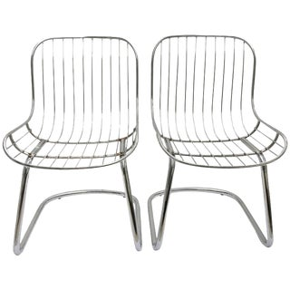Italian Gaston Rinaldi Style Chrome Wire Cantilever Chairs, 1960s - A Pair