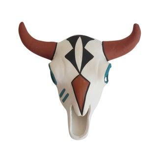 Native American Acoma Painted Ceramic Skull