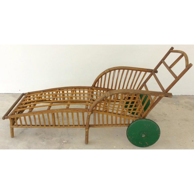 Stick wicker chaise lounge chairish for Antique wicker chaise lounge