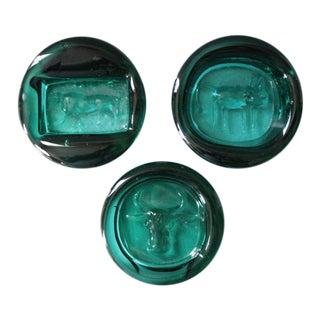 Erik Hoglund Mid- Century Green Glass Paperweights - Set of 3