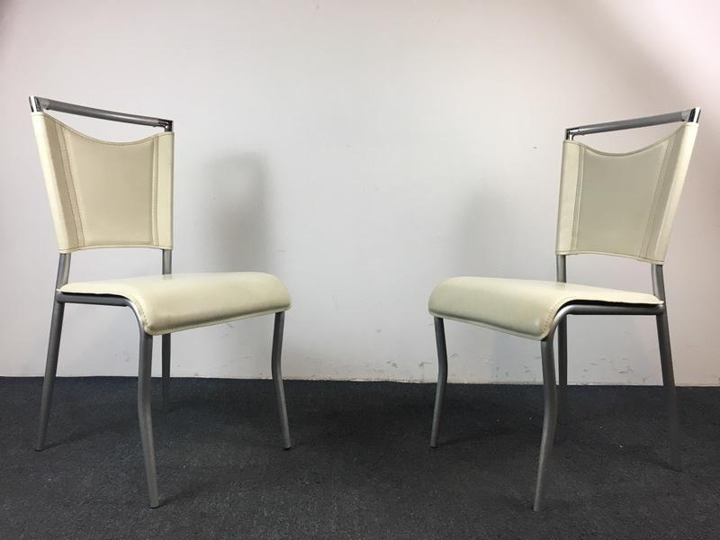 Elegant Contemporary Brushed Metal U0026 White Leather Side Chairs   A Pair   Image 3  ...
