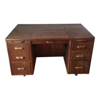 Mid-Century Wooden Desk With Industrial Mechanism