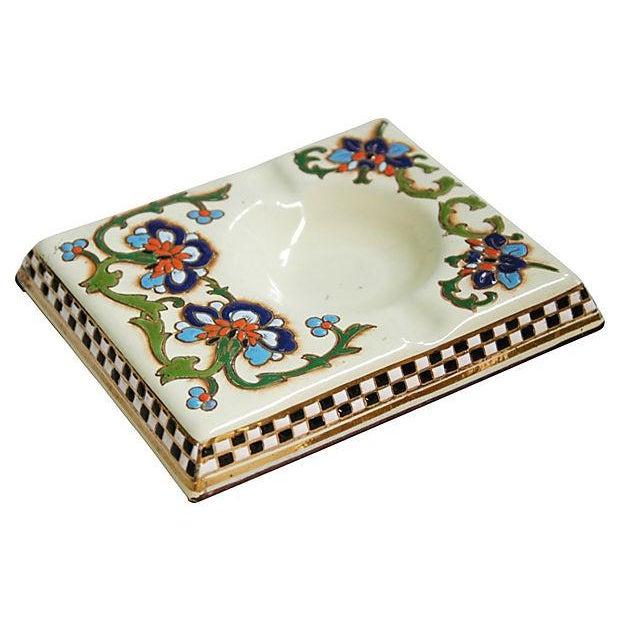 1950s French Enameled Porcelain Ashtray Catchall - Image 2 of 6
