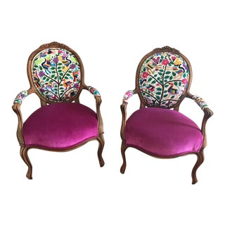 Eclectic Boho Arm Chairs - A Pair