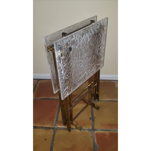 Lucite & Brass Tray Tables & Caddy - Set of 2 - Image 7 of 7