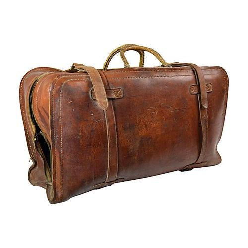Vintage Leather Travel Bag - Image 5 of 6