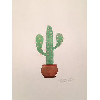 Contemporary Lonely Cactus Watercolor Painting