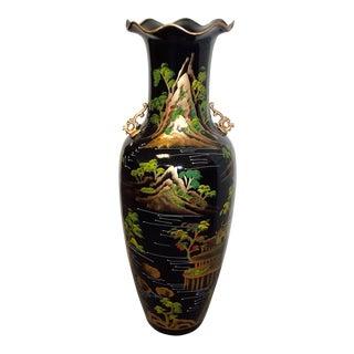 Oriental Asian Black Village Mountain Theme Bonsai Trees Floor Vase