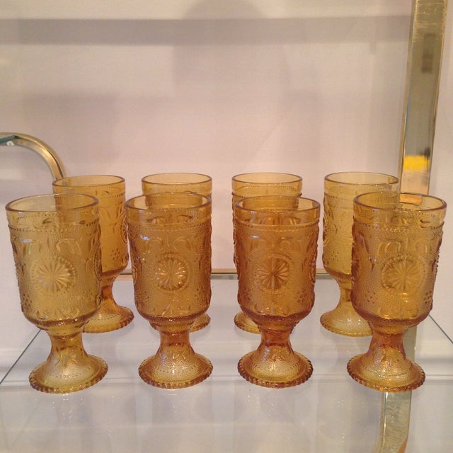 Image of Vintage Amber Glass Tumblers - Set of 8